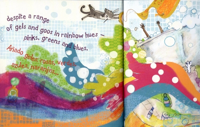 "Page from children's picture book ""Bubbles""/""Pompas"" by Gwyneth Box illustration by Sonia Sánchez"