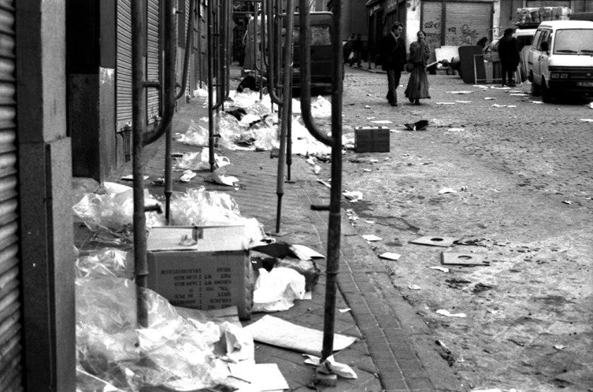 rubbish strewn street