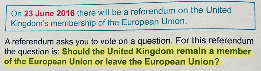EU referendum question