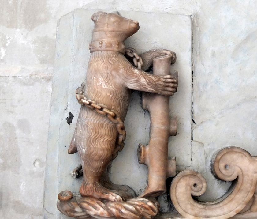 Warwick bear marble relief