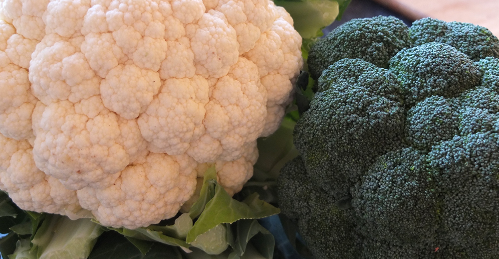cauliflower and broccoli close up