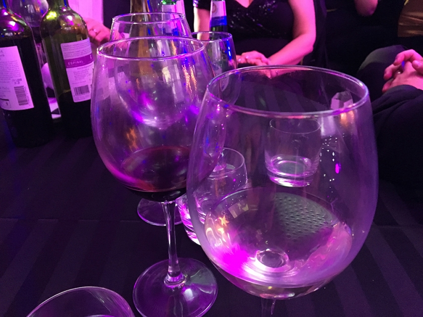 glasses on table at black-tie event