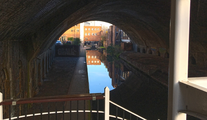 blue sky reflected in canal. Birmingham