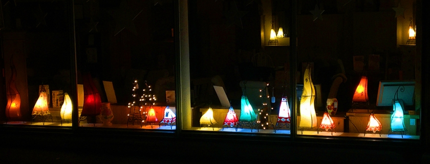 Coloured lamps in shop window