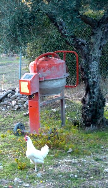 white chicken and orange cement mixer