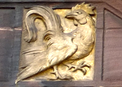 golden rooster. tile relief detail.The Council House, Coventry