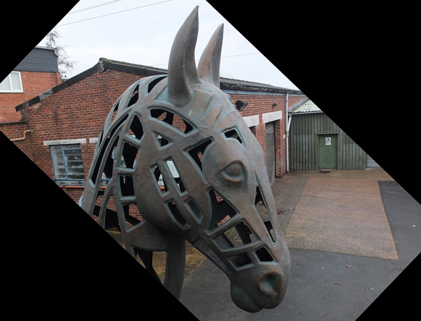 iron horse head sculpture
