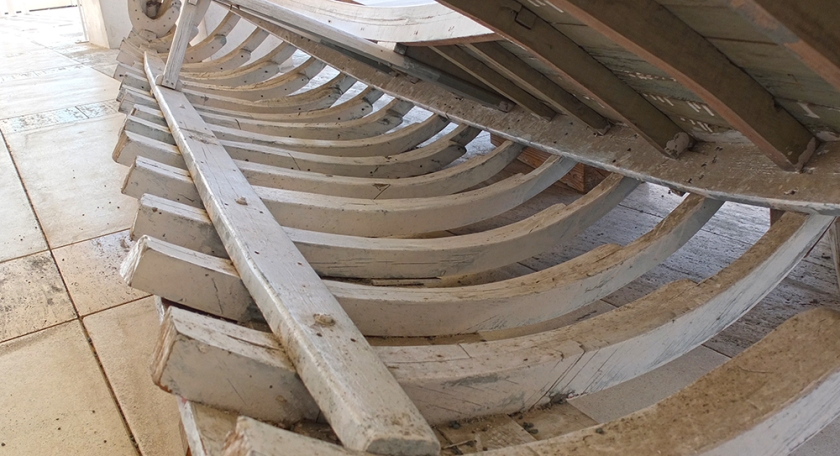 cross section wooden boat frame