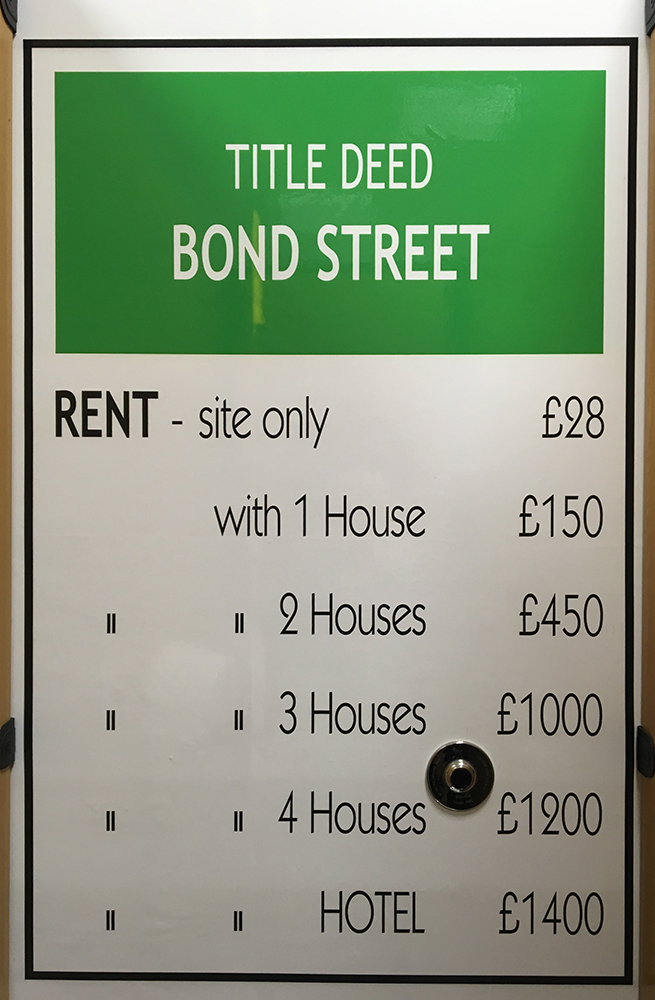 Bond Street monopoly card. Marylebone Station