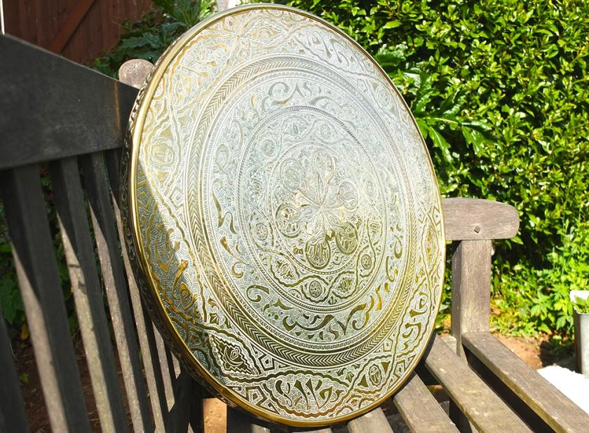 circular brass tabletop
