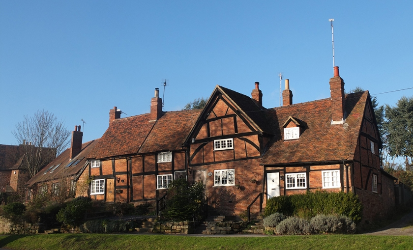 red brick half timbered house