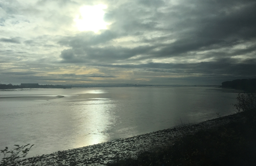 Silver sunlight over river Severn.