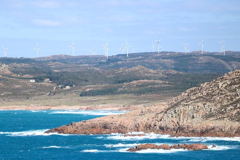 windfarm on distant headland