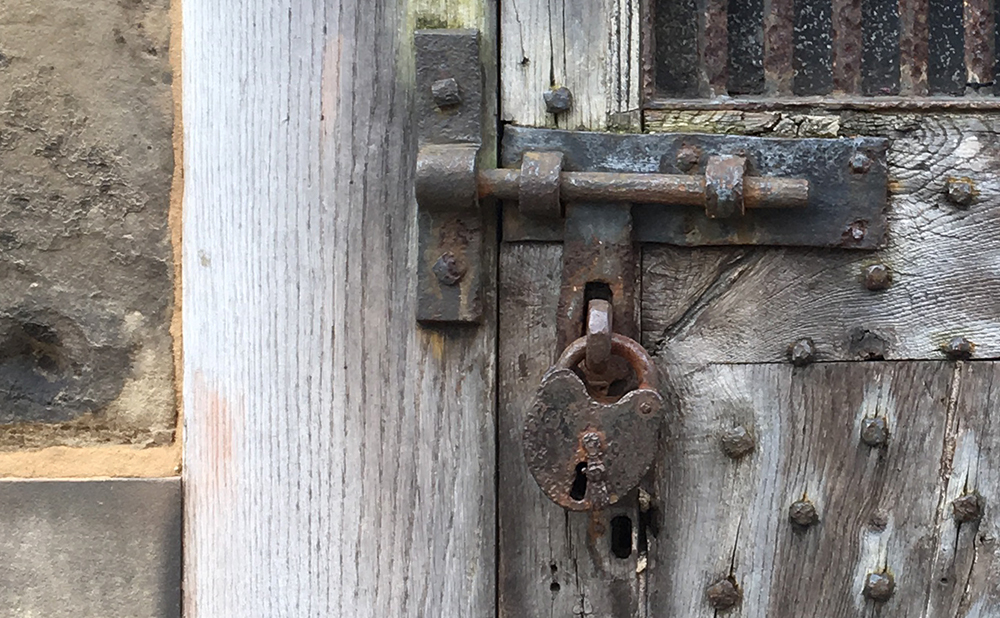 detail of bolt and padlock