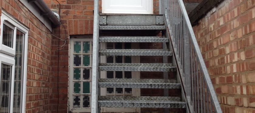 metal fire escape steps