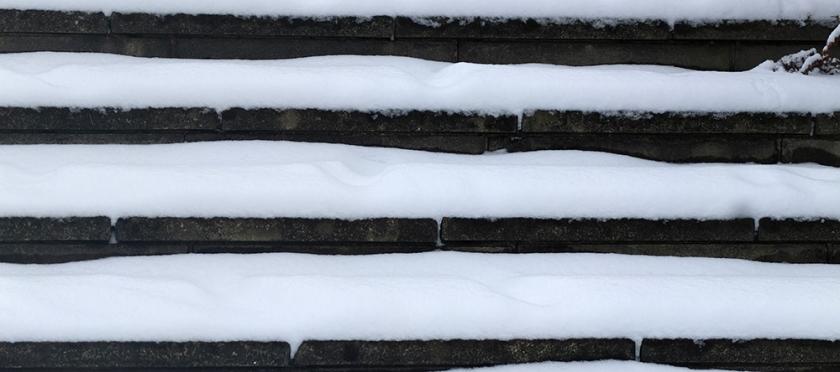 snow on stone steps