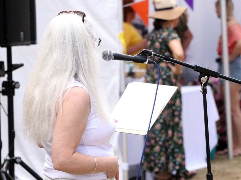 Reading poetry at Art in the Park 2018