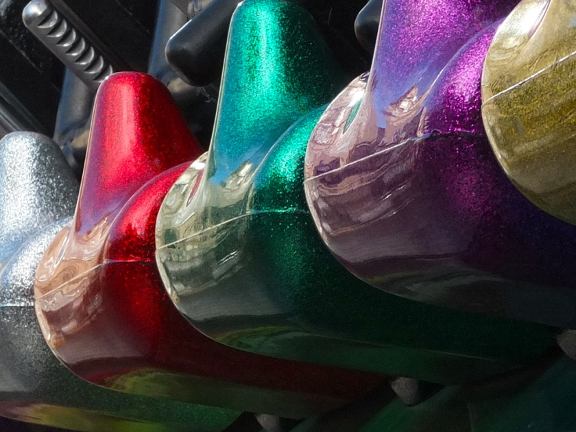 stationary fairground ride close up