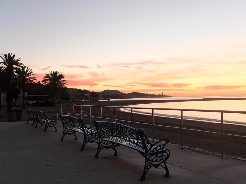 benches on the beachfront at sunrise, Malaga