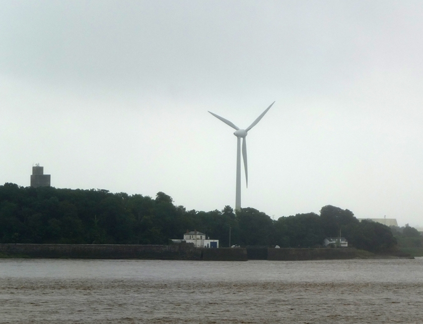 River Severn from train. wind turbine
