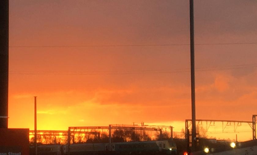 sunrise over railway line