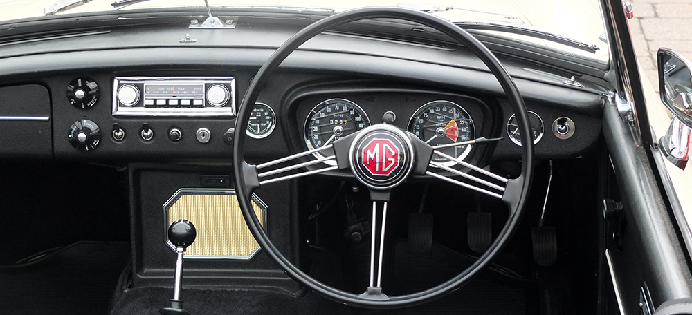 Classic MG steering wheel and dashboard