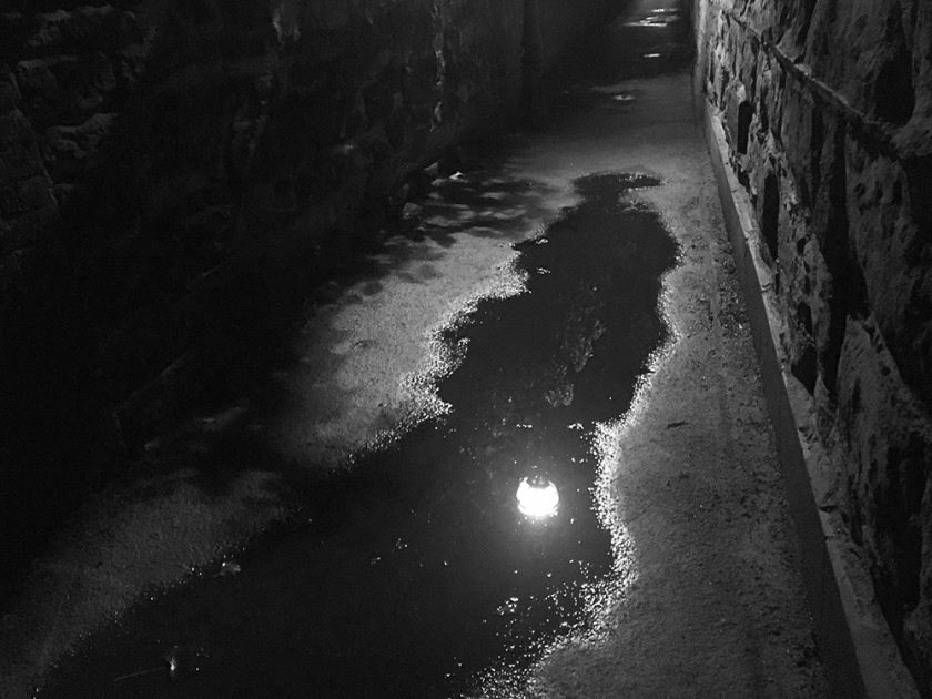 Streetlamp reflected in puddle