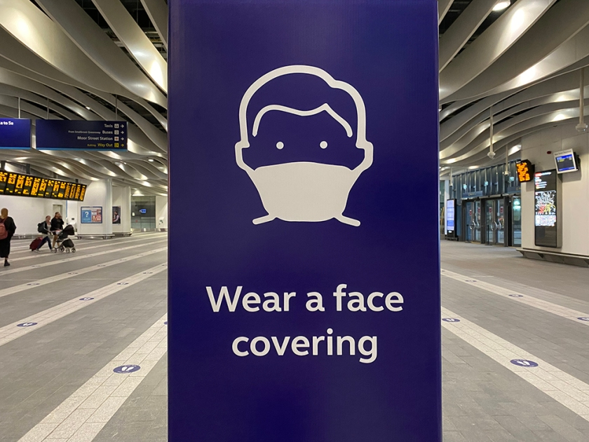 social distance sticker - wear a face covering