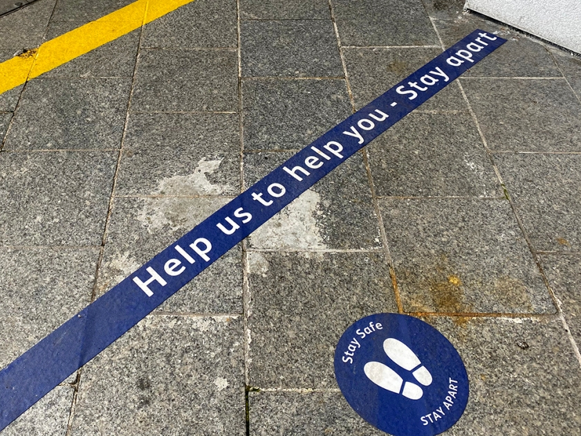 social distance sticker - help us to help you stay apart