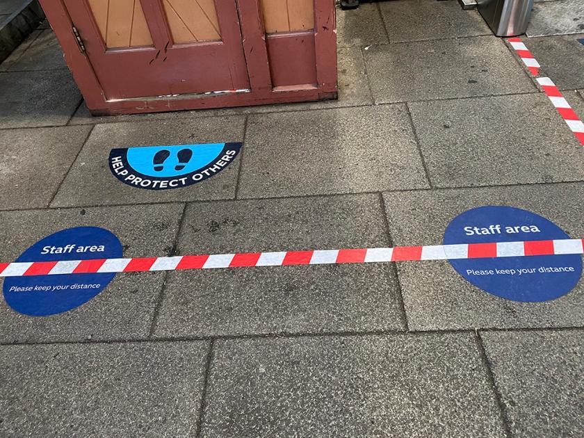 social distance sticker - staff area