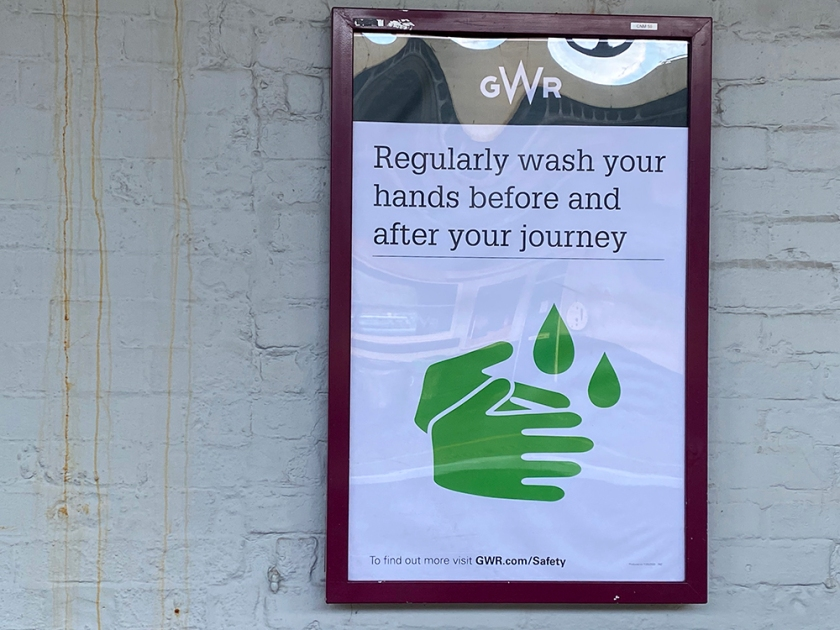 social distance sticker - wash your hands