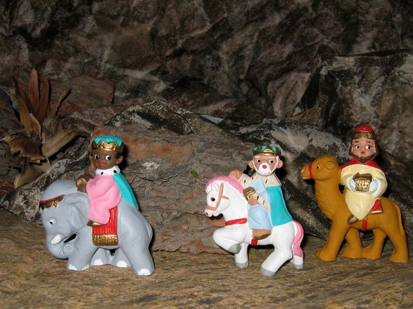 nativity scene figures: three Kings on their journey