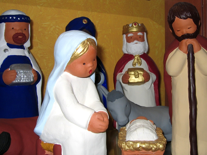 nativity scene figures: Mary, Joseph, Baby Jesus