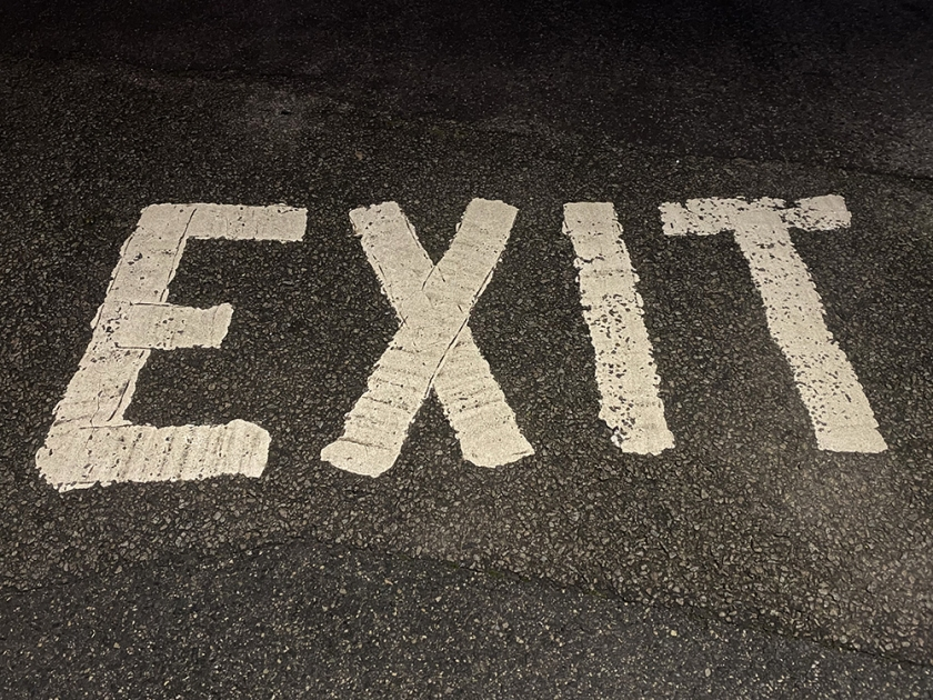"""""""Exit"""" painted on road"""