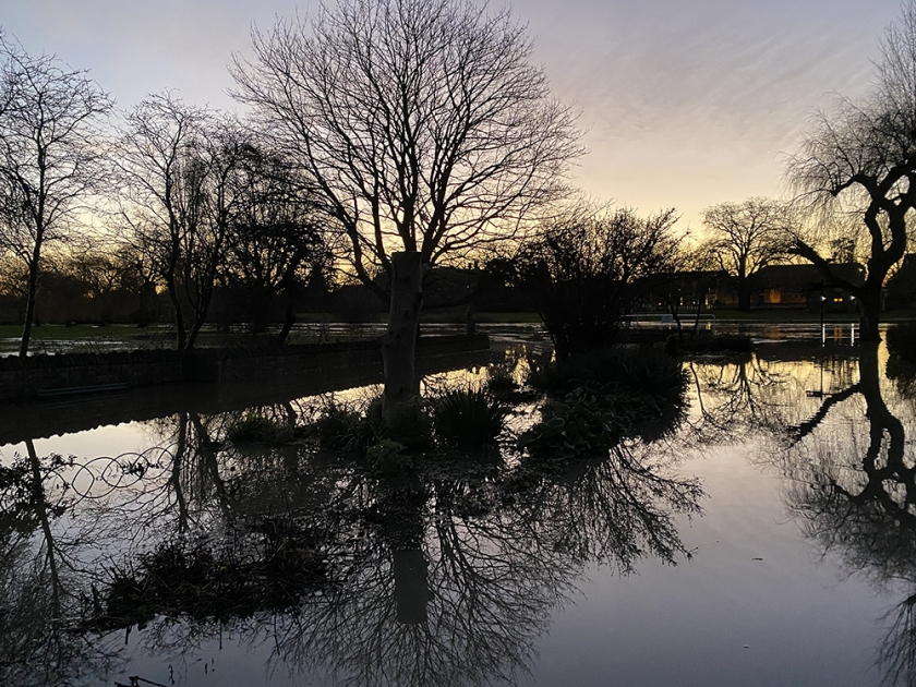 sunrise flooded river reflection